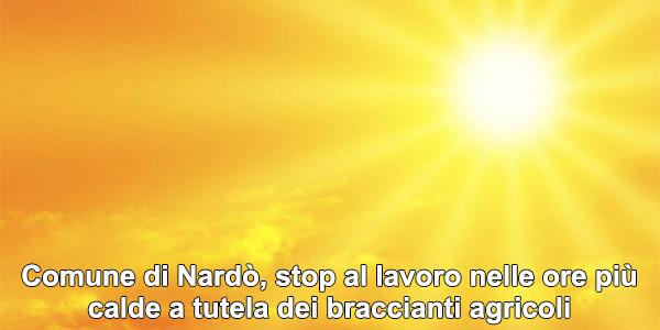 Comune di Nardò, stop al lavoro nelle ore più calde a tutela dei braccianti agricoli